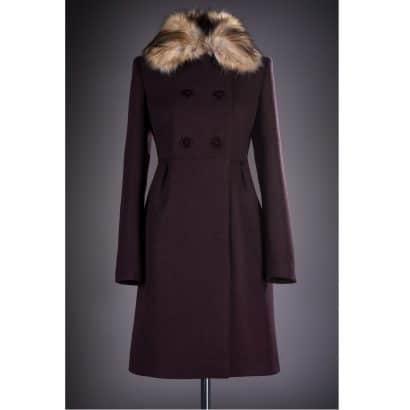 Palton elegant cu blana Loredana grena