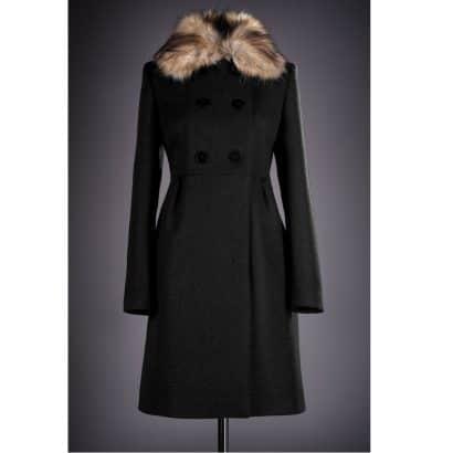 Palton elegant cu blana Loredana negru