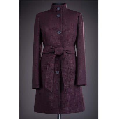 Palton din stofa cu nasturi Karina - Negru/Rosu