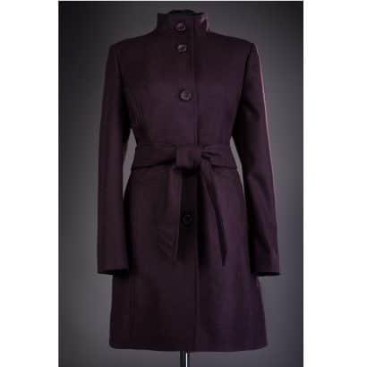 Palton din stofa cu nasturi Karina - Mov inchis